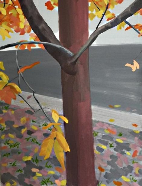 Autumn Street, 92 x 69cm, oil on canvas,2017 final